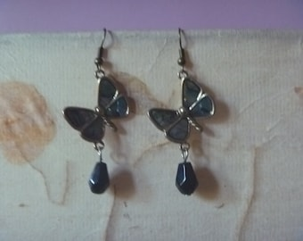 irridescent butterfly earrings, ecofriendly dangle butterfly earrings