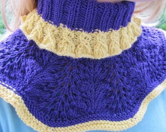 Neck warmer knitted cowl round knit shawl wool cowl lace cowl