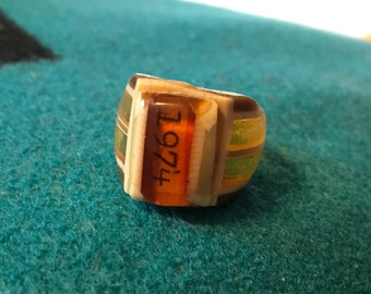 Vintage Celluloid Bakelite Folk Art Prison Ring by Bob Dodd (Size 7-1/4) - Marked 1974