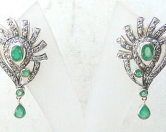 Victorian Diamond Emerald 14 K Gold Silver Earring India