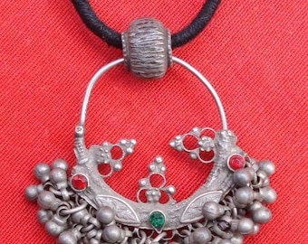 Ancient Bellydance Tribal Old Silver Pendant Necklace