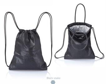 Snakeskin leather backpack tote- multi-way soft leather bag SALE sack bag drawstring backpack leather satchel rucksack leather handbag