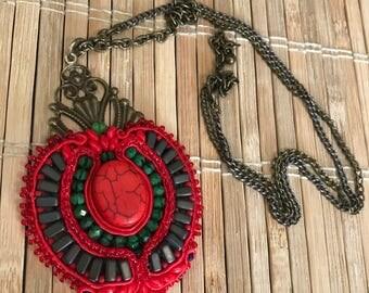 Handmade soutache pendant. Vegan friendly. Unique gift. Vegan gift. Handmade gift. Necklace. Jewellery. Red. Boho chic.