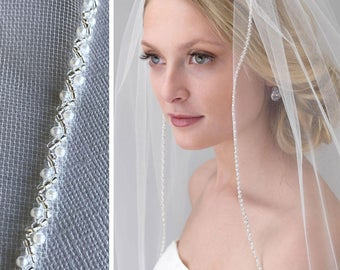 Pearl Bridal Veil, Pearl & Beaded Wedding Veil, Beaded Veil, Tulle Veil, Ivory Veil, Fingertip Veil, Pearl Veil, Beaded Edge Veil ~VB-5074