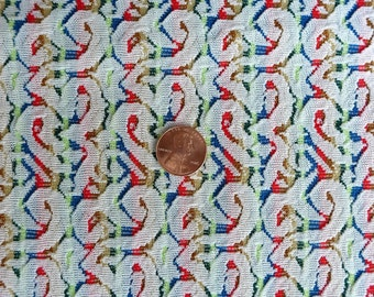 1 + Yards Rainbow Swirl Stripe Polyester Fabric Vintage Red Blue Yellow White Medium Weight Stretch 62 x 36