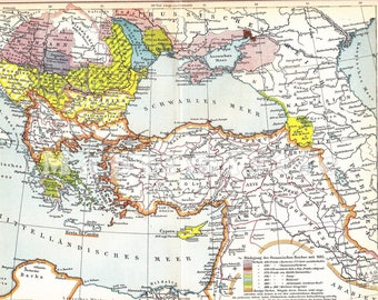 1894 Political and Historical Map of the Eastern Question from 1683-1878 - Diplomatic History of the Great Powers Original Antique Map