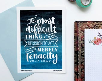 Amelia Earhart Mini Print Handlettered Motivational Quote Notecard
