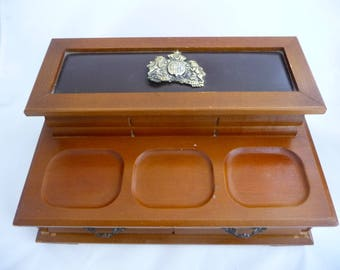 Vintage Wooden Jewelry Box With Gold Coat of Arms That Reads S SPER BIJOU