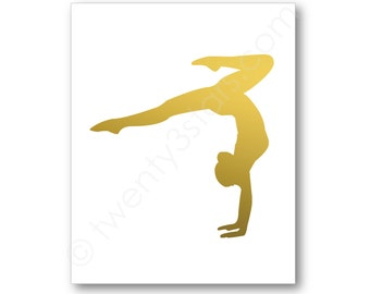 Gymnast Art Print, Real Metallic Ink Art Print, Gold Silver Foil, Unframed, Custom Colors, real gold foil, silver foil Gymnastics Name Art