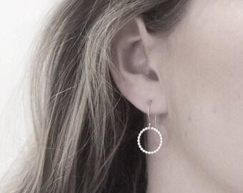 Silver Circle Drop Earrings | Beaded Silver Circle Earrings | Open Circle Hoops | Orbe Earrings | Silver Jewellery UK
