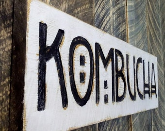 Kombucha Sign - Carved in a Cypress Board Rustic Distressed Farmhouse Style Restaurant Fermented Black Green Tea Gift