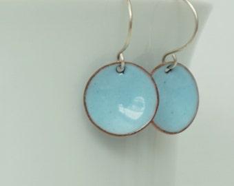 Light Blue Enamel Earrings - Ozone Blue - Enamel Jewelry