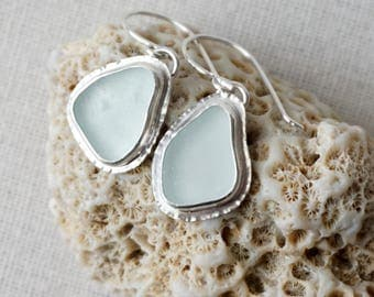 Soft Aqua Blue Sea Glass Earrings - Natural Sea Glass, Genuine Sea Glass - Sea Glass Jewelry