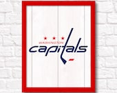 WASHINGTON CAPITALS rustic handmade painted wood sign - Capitals fan NHL hockey Boys room decor Man cave decor - Fathers Day gift for Dad
