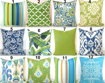 Blue Outdoor Pillows Lime green Outdoor Throw Pillow Covers Lime Teal Outdoor pillow Covers 16 18x18 20 Green Tropical Pillows