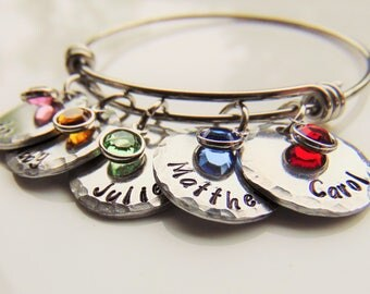Mothers Bracelet, Personalized Bracelet, Expandable Bracelet, Childrens Names, Mothers Day Gift, New Baby Gift, Mother, Custom Jewelry