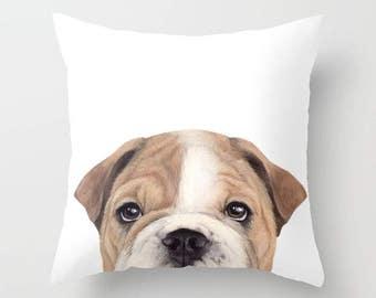 Bulldog Pillow cover Original painting print a dog  print on both sides, home decor, housewares