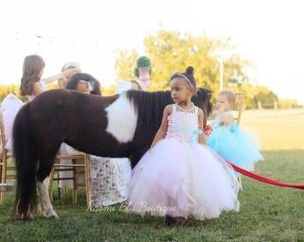 Naomi Blu Flower Girl Tutu Dress in Pink Ivory and Aqua with Lace Trim. Wedding, Flower Girl