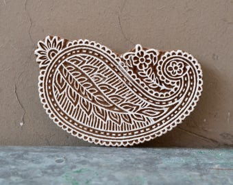 Indian paisley spiral wood block textile stamp henna fabric material printing DIY Traditional Indian carved wooden stencil