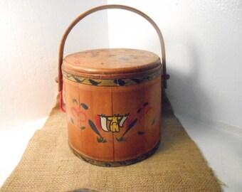 Antique Vintage Primitive Wooden Firkin Sugar Bucket, Original Folk Art Paint Metal Bands Farmhouse Decor
