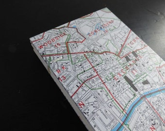 Writing journal - travel journal - artists sketchbook - A6 - blank pages - vintage Glasgow map