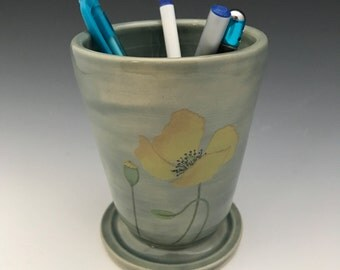 Stoneware Tumbler with Yellow Poppies
