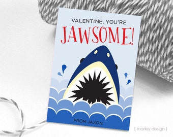 Shark Valentines Cards Kids Valentines Classroom Cards Personalized Kids Shark Valentines Jawsome Valentines Valentine's Day Cards Digital