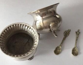 Vintage Open Salt Cellar Dip Spoons Figural Lion Gryphon Set of 2