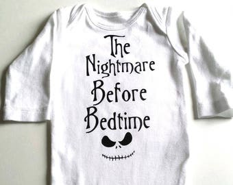 The Nightmare Before Bedtime Bodysuit -  Nightmare before christmas Newborn bodysuit- Coming home outfit