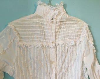 BRIDAL 10s/20s Victorian blouse/shirt wedding S/M lace trim white blouse button up revival vintage bride