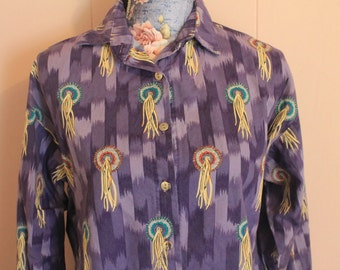Vintage Western Dream Catcher purple button-down shirt