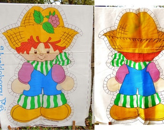 """1981 Original Strawberry Shortcake Characters Pillow Panel for 21"""" Doll - 2 Available- Retro Kids Decor Sewing Fabric Panels Craft Supply"""