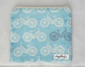 Perfect Size Snack Pouch - choice of prints: bikes  | lambs | green mice | smiles - 100% organic cotton