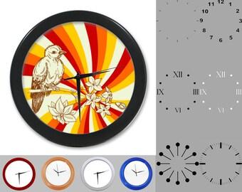 Bird Wall Clock, Abstract Retro Design, Floral Artistic, Customizable Clock, Round Wall Clock, Your Choice Clock Face or Clock Dial