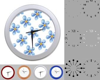 Blue Flower Petal Wall Clock, Floral Design, Fun Simple Design, Customizable Clock, Round Wall Clock, Your Choice Clock Face or Clock Dial
