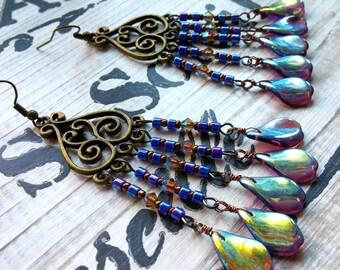 Blue Chandelier Earrings, Gypsy Earrings, Bohemian Jewelry, Boho Earrings, Gifts for Her,Dangle Earrings, Long Earrings