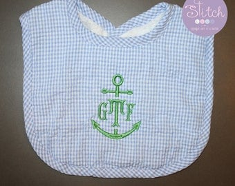 Blue Gingham Bib with Anchor Monogram