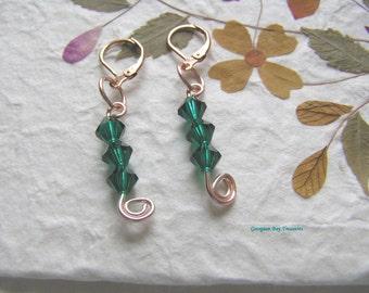 St. Patrick's Day earrings, handmade, rose gold, Irish emerald green, wire, dangle earrings, gift under 20, GBT205