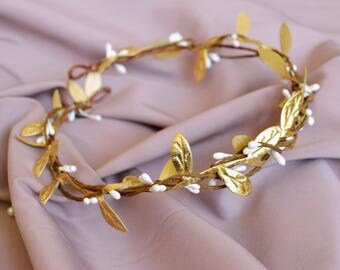 Gold leaf bridal crown, Gold wedding hair wreath, Bridal headpiece, Gold halo, Grecian crown, Gold hair accessories, Gold wedding, Prom