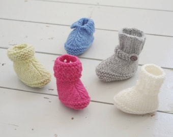 Five Styles Easy Baby Booties Quick Knitting Pattern Babies Shoes Simple Boots Gift Instructions Tutorial