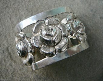 Mexican Silver Jewelry, Vintage Mexican, Taxco Silver Vintage, Taxco Bracelet Cuff, Vintage Taxco Cuff, Floral Bracelet, Floral Jewelry