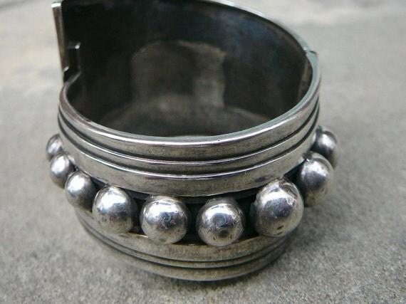 Taxco Silver Bracelet, Taxco Cuff, Taxco Silver Clamper, Alfredo Villasana Taxco Jewelry, Taxco Mexican Silver Bracelet