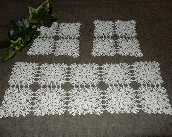 Set of 3 swedish hand crocheted doilies / vintage / rare / white