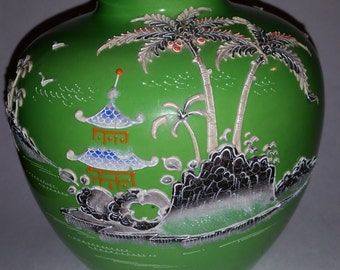 Vintage Japanese Vase 1950's Hand Painted Asian Ginger Jar With Pagoda and Palm Tree Design Asian Home decor Decorative Vase Made in Japan