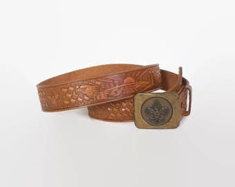 Vintage 70s BSA BELT / 1970s Boy Scouts Of America Tooled Leather Brass Buckle Belt