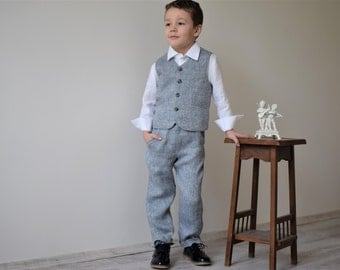 Boys linen suit Ring bearer outfit Toddler boy vest and pants Family Photo Baptism Birthday party Page boy outfit Wedding party suit