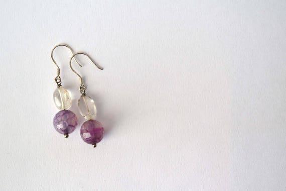 Dangle earrings yellow and purple/ chakra stones / raw stone jewelry / agate earrings /citrine quartz earrings / spheres / silver earrings