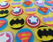 "24 Fondant ""Super hero"" inspired cupcake toppers, ""batman"",""superman"",""captain america""inspired theme,edible heroes,hero cake decorations"