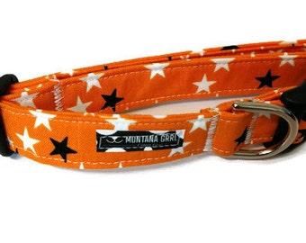 Orange with Glow in the Dark Stars Pet Collar, orange dog collar, glow in the dark, girl collar, boy collar, puppy collar