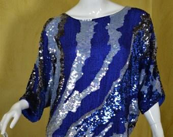 1980s Fabulous Silk & Fully Beaded Dolman Sleeved Blouse